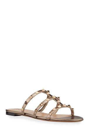 Valentino Garavani Rockstud Metallic City Flat Slide Sandals