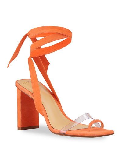 Katie Suede Ankle-Wrap Sandals