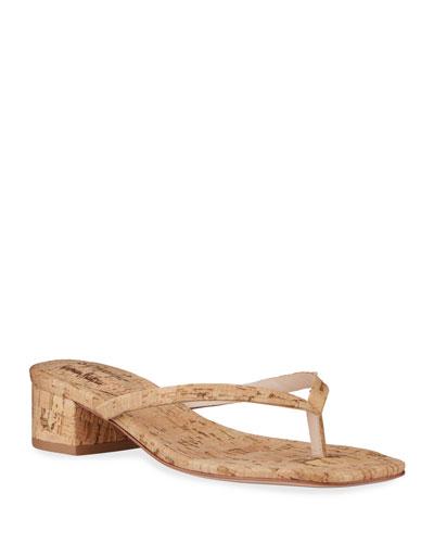Percine Low-Heel Cork Thong Sandals