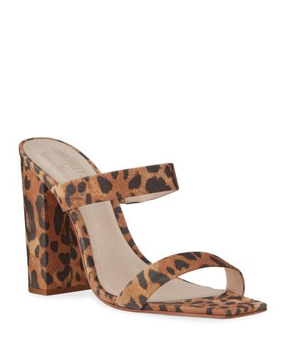 Maribel Square-Toe Leopard Suede Sandals