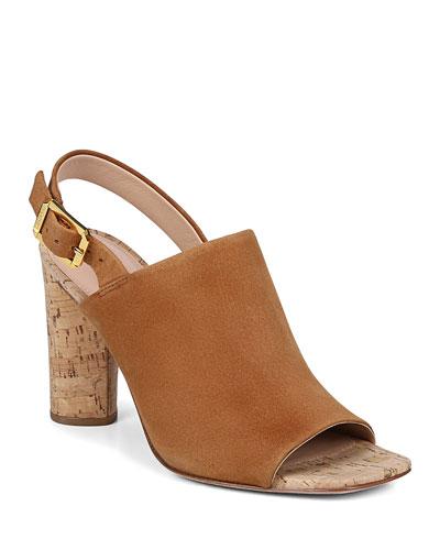 Bodhi Suede Cork-Heel Slingback Sandals