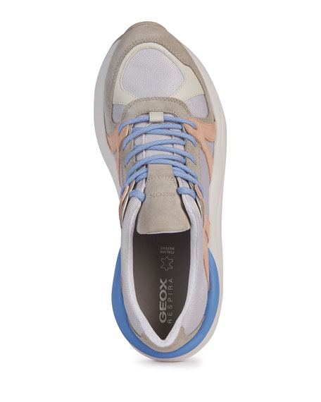 Image 3 of 4: Geox Topazio Colorblock Suede Trainer Sneakers
