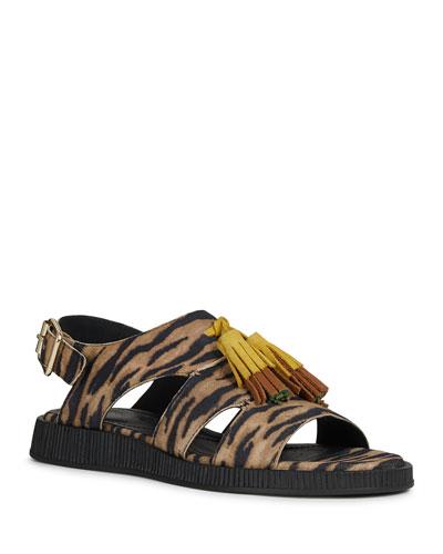 Taormina Leopard-Print Cage Sandals