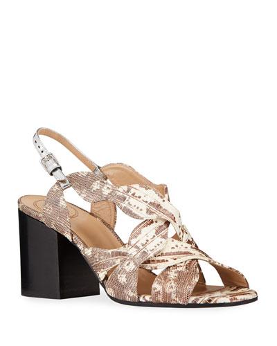 Lauren Lizard-Print Slingback Sandals