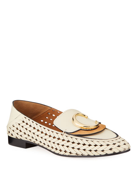 Image 1 of 4: Woven C Medallion Flat Loafers