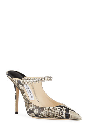Jimmy Choo Bing 100mm Snake-Print Leather Mules