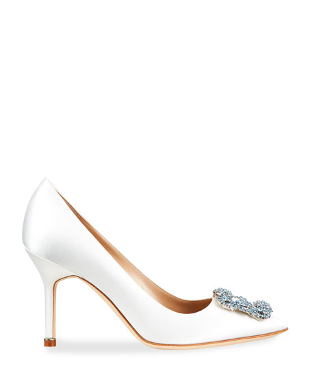Image 2 of 4: Manolo Blahnik Hangisi 90mm Satin Jeweled Buckle Pumps