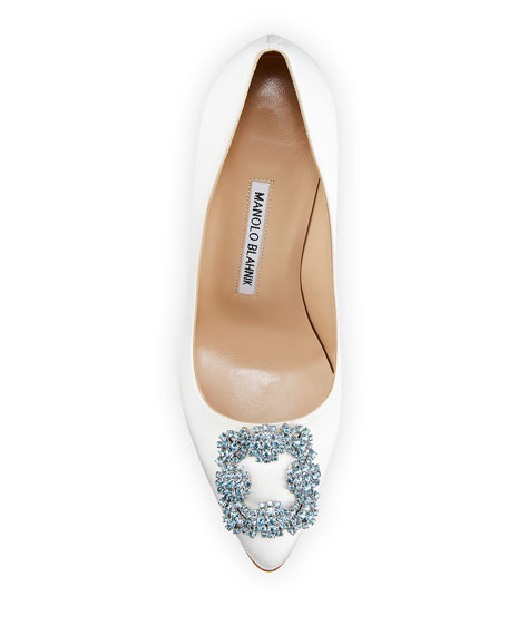 Image 3 of 4: Manolo Blahnik Hangisi 90mm Satin Jeweled Buckle Pumps