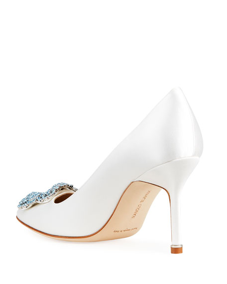 Image 4 of 4: Manolo Blahnik Hangisi 90mm Satin Jeweled Buckle Pumps
