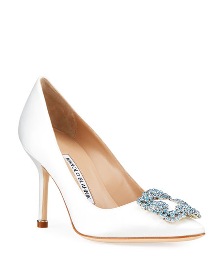 Image 1 of 4: Manolo Blahnik Hangisi 90mm Satin Jeweled Buckle Pumps
