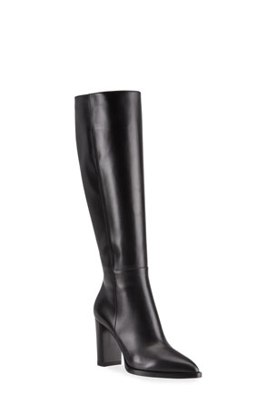 Gianvito Rossi 85mm Leather Zip Knee Boots