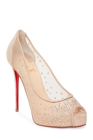 Christian Louboutin Very Strass Peep-Toe Platform Red Sole Sandals