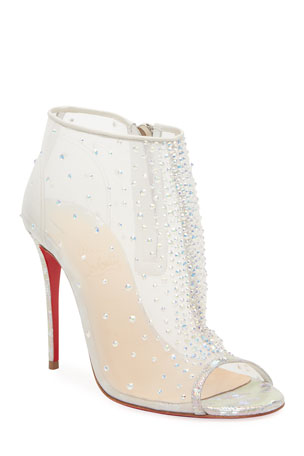 Christian Louboutin Illimiboot Strass Peep-Toe Red Sole Booties