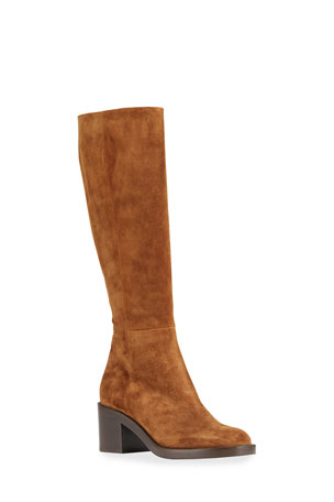 Gianvito Rossi 60mm Double-Sole Suede Knee Boots