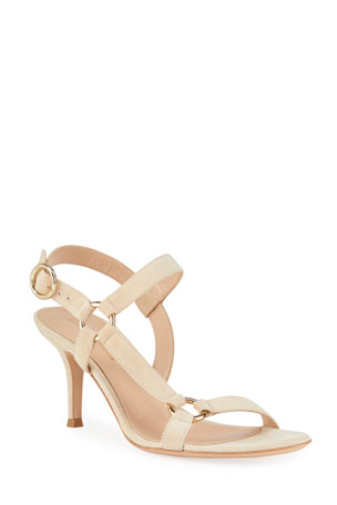 Gianvito Rossi 70mm Suede Sandals with Ring Detail