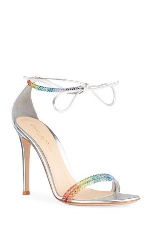Gianvito Rossi 105mm Rainbow Crystal Stud Ankle-Tie Sandals