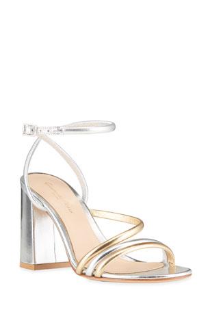 Gianvito Rossi 85mm Metallic Tricolor Strappy Sandals