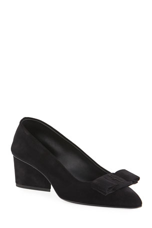 Salvatore Ferragamo Viva 55mm Suede Pumps With Bow & Block Heel