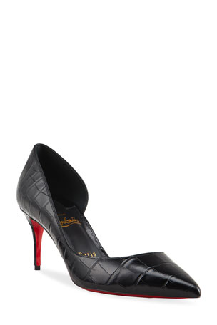 Christian Louboutin Iriza Mock-Croc 70mm Half-d'Orsay Red Sole Pumps