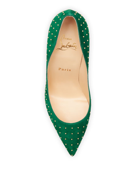 Image 3 of 3: Christian Louboutin Pigalle Follies Plume Studded Suede Red Sole Pumps