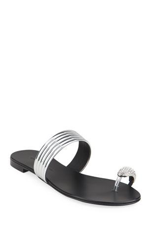 Giuseppe Zanotti Flat Coated Metallic Leather Toe-Ring Sandals