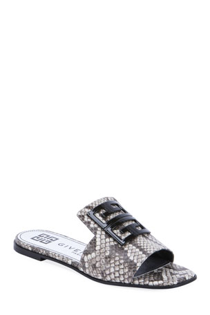 Givenchy 4G Python-Print Leather Mule Sandals