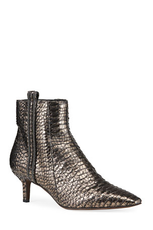 Brunello Cucinelli Metallic Python Ankle Zip Booties