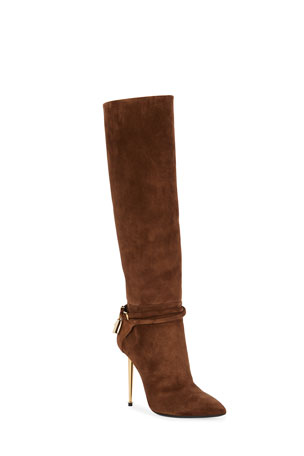 TOM FORD Suede Padlock Knee Boots
