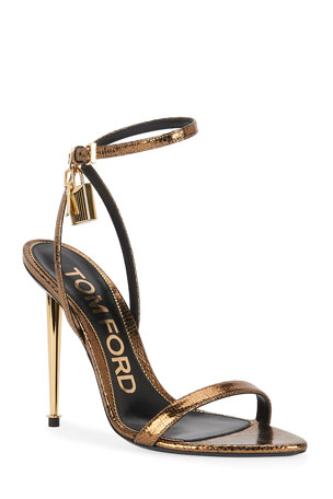 TOM FORD 105mm Metallic Lizard-Print Lock Sandals