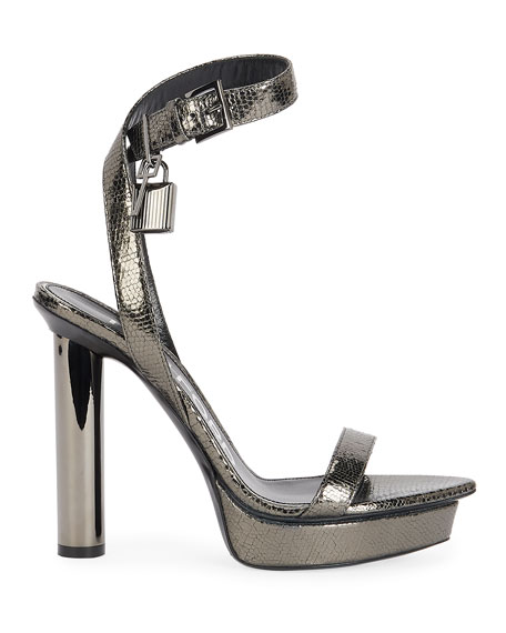 Image 2 of 4: TOM FORD 125mm Lizard-Print Platform Lock Sandals
