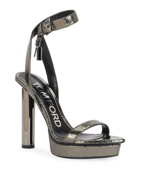 Image 1 of 4: TOM FORD 125mm Lizard-Print Platform Lock Sandals