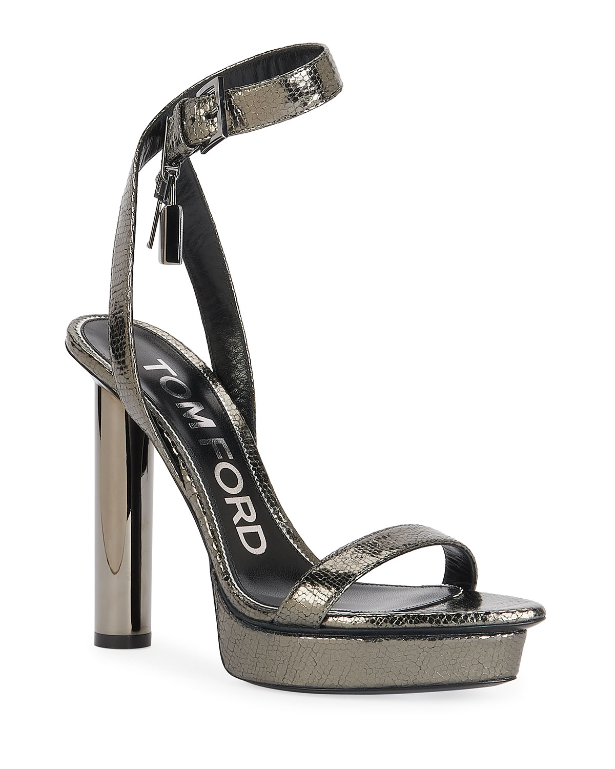 TOM FORD 125mm Lizard-Print Platform Lock Sandals