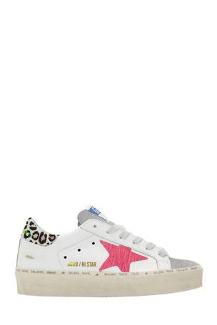 Golden Goose Hi Star Mixed Leather Platform Sneakers