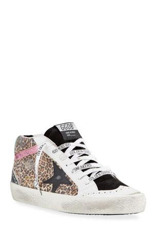 Golden Goose Mid Star Leopard-Print Sneakers