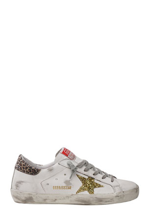 Golden Goose Superstar Leather Glitter Star Sneakers