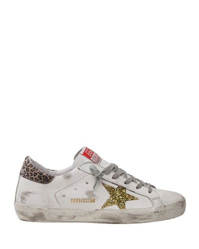 Golden Goose Superstar Leather Glitter Star Sneakers