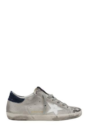 Golden Goose Superstar Python-Print Suede Sneakers