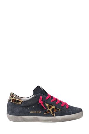 Golden Goose Superstar Suede Leopard-Print Sneakers