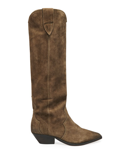 Image 2 of 4: Isabel Marant Denvee Suede Tall Western Boots