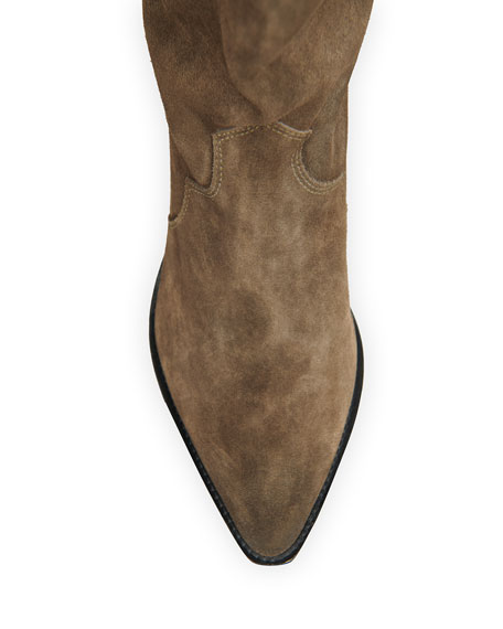 Image 3 of 4: Isabel Marant Denvee Suede Tall Western Boots