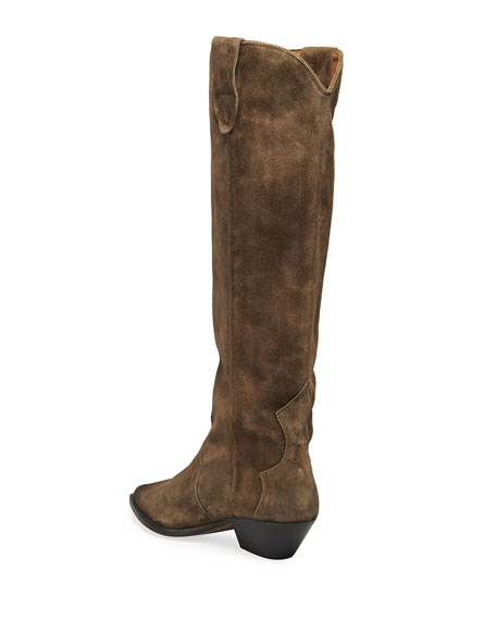 Image 4 of 4: Isabel Marant Denvee Suede Tall Western Boots