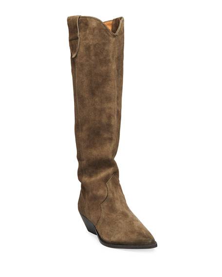Image 1 of 4: Isabel Marant Denvee Suede Tall Western Boots