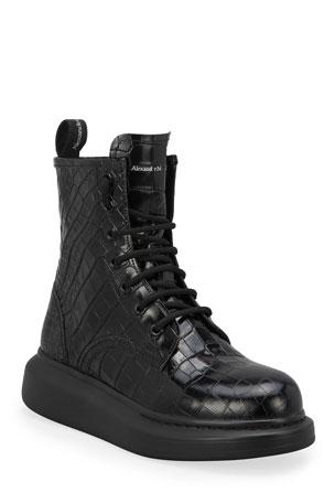 Alexander McQueen Mock-Croc Combat Booties