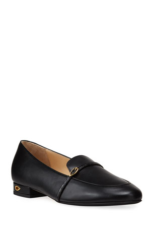Jennifer Chamandi Leather Buckle Slip-On Loafers