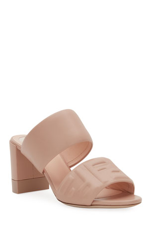 Fendi FF Leather Two-Band Slide Sandals
