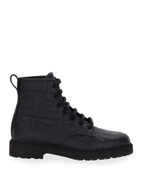 Image 2 of 4: Fendi FF Logo Leather Combat Booties