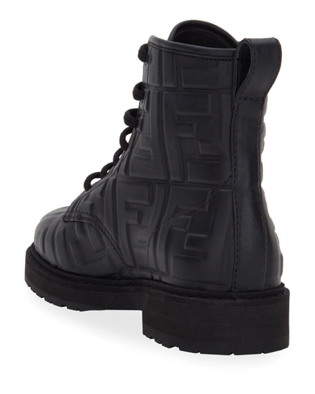 Image 4 of 4: Fendi FF Logo Leather Combat Booties
