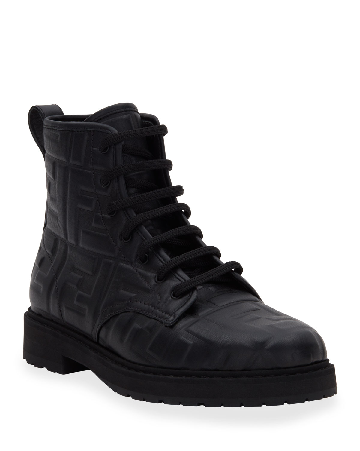 Fendi FF Logo Leather Combat Booties