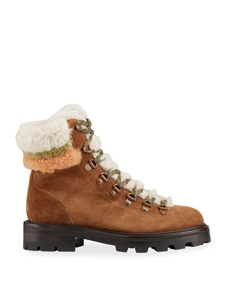 Image 2 of 4: Jimmy Choo Eshe Suede Shearling Hiker Booties