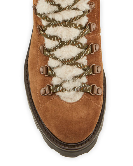 Image 3 of 4: Jimmy Choo Eshe Suede Shearling Hiker Booties